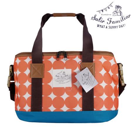 日本BISQUE 戶外保溫保冷方型野餐袋 - 幾何橘