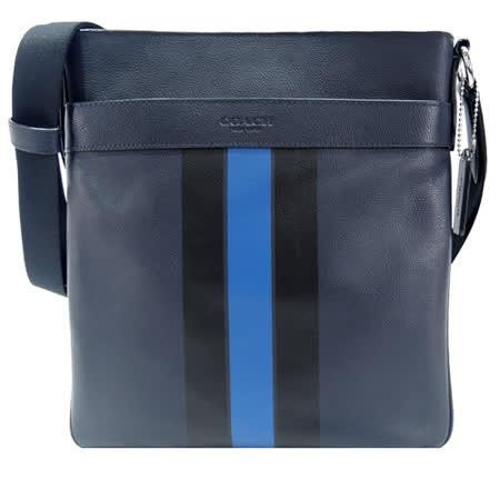 COACH 雙色直紋皮革扁斜背包(深藍)
