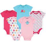 美國 luvable friends  嬰幼兒短袖包屁衣5件組_小花貓頭鷹 (LF30660)