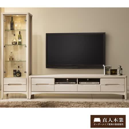 【日本直人木業】COCO白橡206CM電視櫃加展示櫃