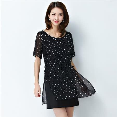 【Stoney.ax】時尚優雅造型綁帶波點雪紡短袖連衣裙-黑色(M-5XL)