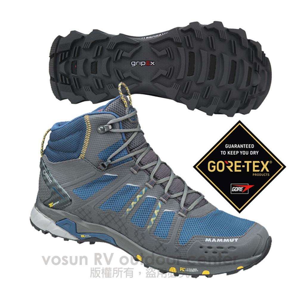 【瑞士 MAMMUT 長毛象】男T Aenergy Mid GTX 中筒 超輕量多功能鞋 登山健行/GORE-TEX / Gripex鞋底 3020-05610 灰/藍