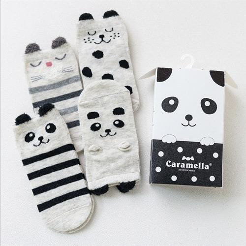 春夏兒童襪 日系可愛卡通黑色貓熊短版兒童男襪Q盒裝(4入組)(C177)