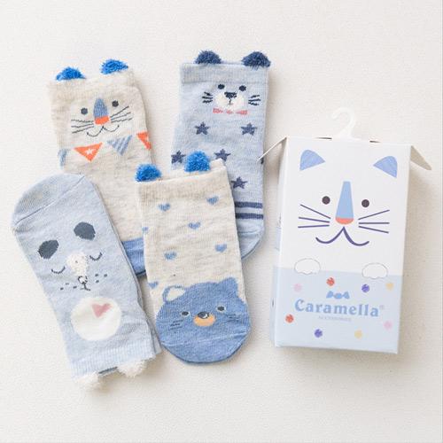 春夏兒童襪 日系可愛卡通藍色小獅子短版兒童男襪Q盒裝(4入組)(C178)