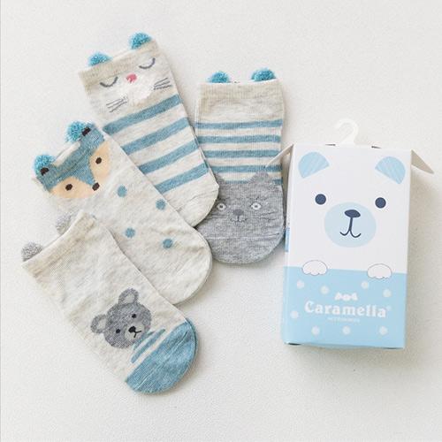 春夏兒童襪 日系可愛卡通藍色小熊短版兒童男襪Q盒裝(4入組)(C179)