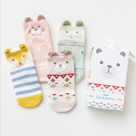 春夏兒童襪 日系可愛卡通彩色動物短版兒童女襪Q盒裝(4入組)(C180)