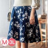 日本Portcros 預購-雅緻鬆緊腰頭圓裙短裙(共五色/M-3L)