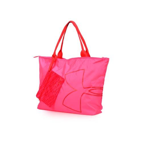 (女) UNDER ARMOUR BIG LOGO 托特包-單肩包 側背包 手提包 旅行包 粉紅桃紅 F