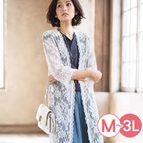 日本Portcros 預購-全蕾絲雅緻長版罩衫(共三色/M-3L)