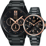 ALBA 台灣獨賣情人節限量對錶-黑/43+34mm VD53-X264K+VD75-X105SD