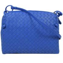 BOTTEGA VENETA 經典編織小羊皮斜背小方包.土耳其藍