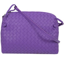 BOTTEGA VENETA 經典編織小羊皮斜背小方包.紫羅蘭色