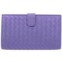 BOTTEGA VENETA 經典編織小羊皮扣式零錢中長夾.金屬紫