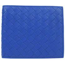 BOTTEGA VENETA 經典編織小羊皮信用卡雙折短夾.藍