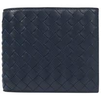 BOTTEGA VENETA 經典編織小羊皮信用卡雙折短夾.深藍