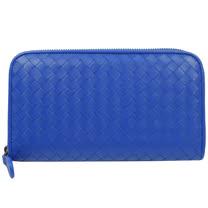 BOTTEGA VENETA 經典手工編織小羊皮拉鍊長夾.藍
