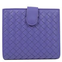 BOTTEGA VENETA 經典編織小羊皮扣式零錢短夾.淺紫