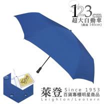 【萊登傘】123cm防撥水超大傘面自動傘(素面藍)-可遮三人