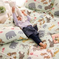 OLIVIA 《 動物樂園 綠 》 雙人床包夏日涼被四件組