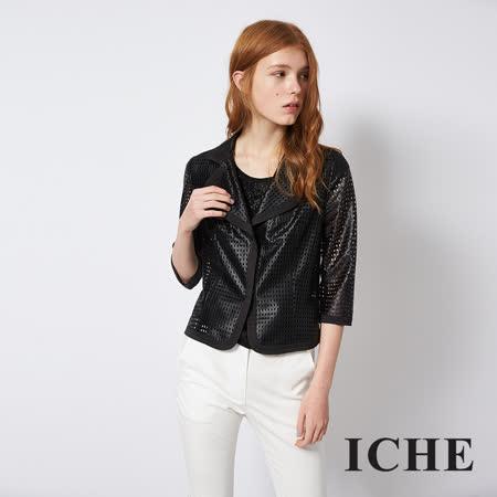ICHE 衣哲 簡約俐落挺版簍空七分袖西裝外套