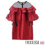 JESSICA RED-時尚派對蕾絲拼接綁帶造型洋裝(紅)