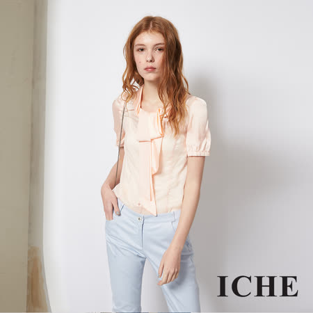 ICHE 衣哲 時尚OL粉嫩領結拼接百搭造型上衣