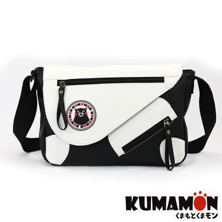 【KUMAMON】熊本熊 樂活側背包 斜背包(黑底白面NO-75)