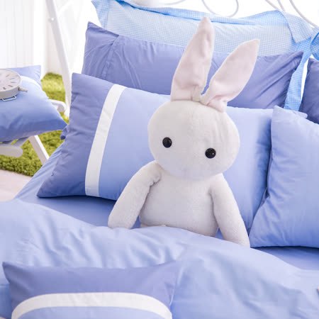 OLIVIA《MOD 7 銀藍X白X水藍》雙人床包薄被套四件組 素色英式簡約系列