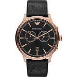 ARMANI Classic 爵士計時腕錶-黑x玫塊金框/43mm AR1792