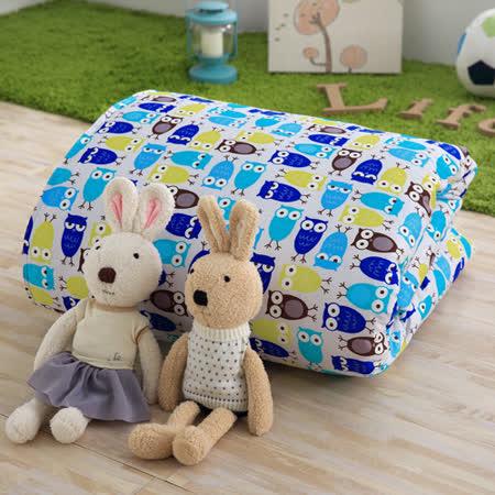 IN HOUSE-貓頭鷹派對-100%精梳棉200織紗-中童被(藍色)