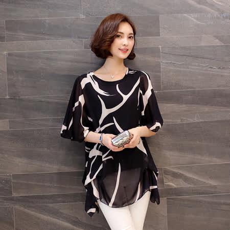 【Stoney.ax】韓版時尚氣質款飄逸假2件套雪紡長上衣-黑色
