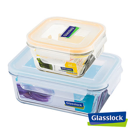 Glasslock強化玻璃微波保鮮盒 - 好裝推薦長+方形2入組