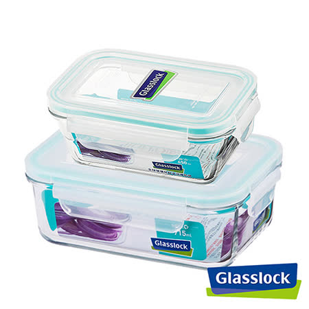 Glasslock強化玻璃微波保鮮盒 - 長方餐盒2入組