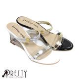 【Pretty】金屬邊條拼接透明寬帶兩穿鏤空楔型涼拖鞋