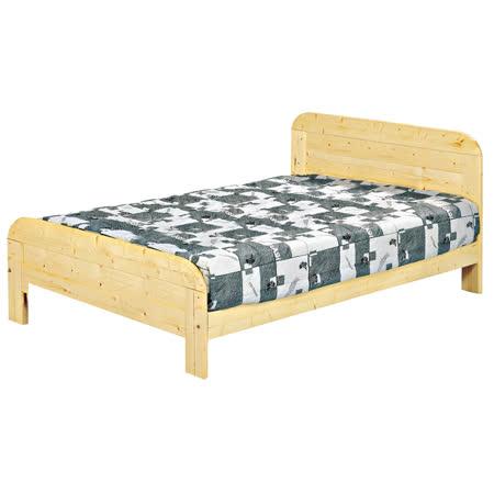 日式5尺松木實木雙人床架