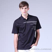 ROBERTA諾貝達 台灣製 品味條紋 純棉短袖POLO棉衫 黑色