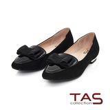 TAS 蝴蝶結漆皮拼接麂皮樂福鞋-時尚黑