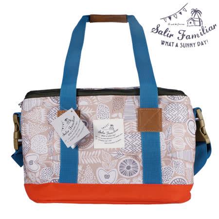 日本BISQUE 戶外保溫保冷方型野餐袋 - 幾何棕