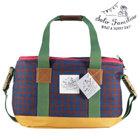 日本BISQUE 戶外保溫保冷方型野餐袋 - 幾何咖/藍