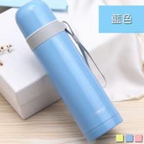 PUSH! 戶外休閒用品不銹鋼雙層無尾真空保溫水壺保溫瓶500ml保溫杯E86-1藍色