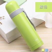 PUSH! 戶外休閒用品不銹鋼雙層無尾真空保溫水壺保溫瓶500ml保溫杯E86-2綠色