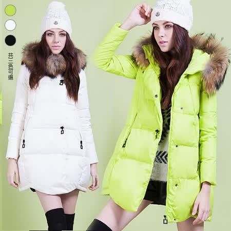 《韓國K.W.》雪地感潮人毛領羽絨棉外套(在台現貨)