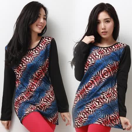 【韓國K.W.】俏甜滋味.時尚豹紋彩色內刷毛上衣(在台現貨)