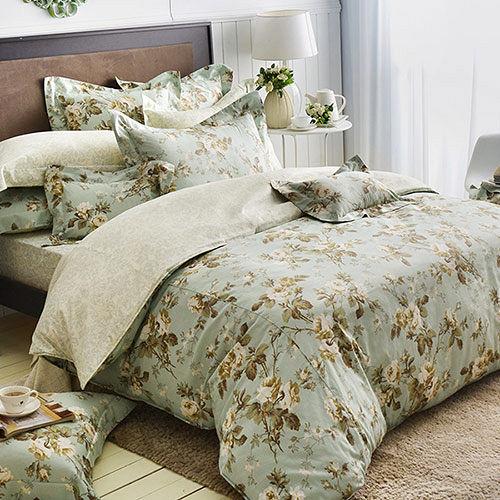 義大利La Belle~綠野香頌~雙人純棉床包枕套組