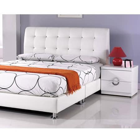 AT HOME-雪莉5尺白皮雙人床3件組(床頭片+床底+床墊)
