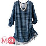 日本Portcros 預購-下擺抽褶條紋拼接上衣(共兩色/M-3L)