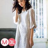 日本ANNA LUNA 預購-典雅雪紡拼接蕾絲洋裝(共三色/M-3L)