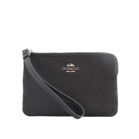 【COACH】經典LOGO L型拉鍊緹花布手拿包(黑色)