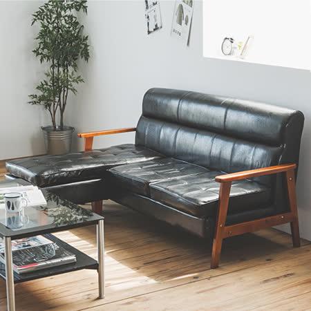 Peachy life 三人座L型皮革沙發-附沙發椅凳