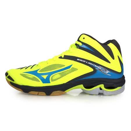 (男) MIZUNO WAVE LIGHTNING Z3 MID 排球鞋-美津濃 螢光黃藍
